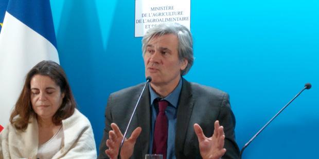 Gros plan de Stéphane Le Foll pendant la conférence de presse du 19 janvier 2017