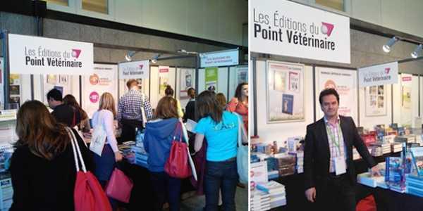 Notre libraire, Pascal Lardeux, tient stand sur le congrès pour la librairie des Editions du Point Vétérinaire.