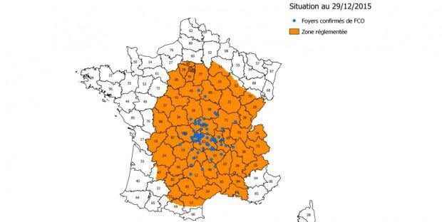 carte de la zone réglementée pour la FCO au 30 décembre