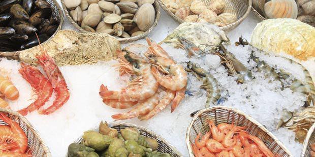 étalage crustacés