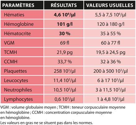 TABLEAU 3Résultats de la numération et de la formule sanguines