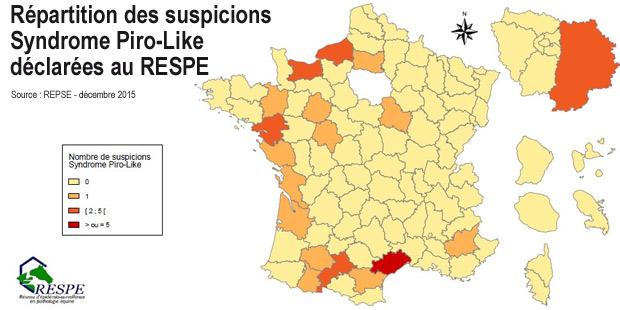 Carte des suspicions «syndrome piro-like» déclarées au Respe