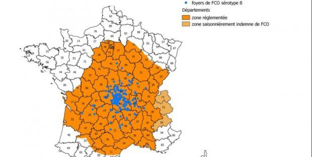 carte représentant la zone réglementée en orange, et les foyers en bleu