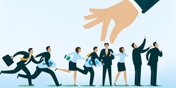 salariés, sélection, main