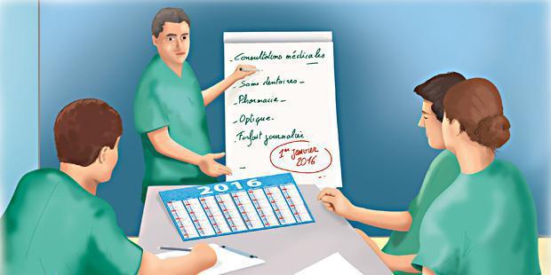 Vétérinaire décrivant la complémentaire santé à ces employés
