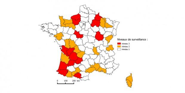 Sylvatub : en jaune les départements de niveau 2 et en rouge ceux de niveau 3