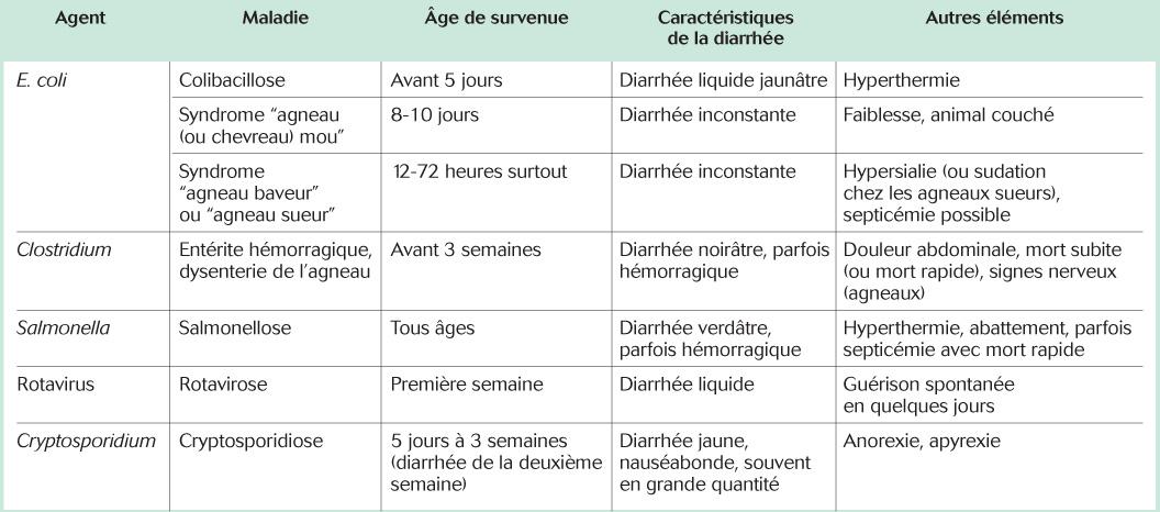 Éléments du diagnostic clinique et différentiel des diarrhées néonatales des petits ruminants