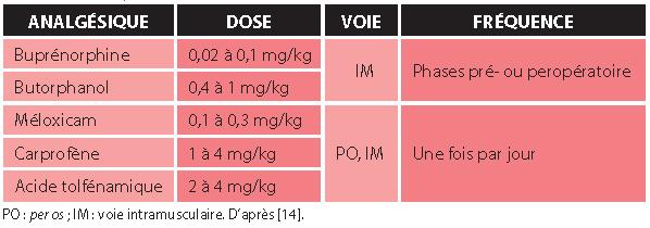 TABLEAU 5Analgésiques utilisés chez les tortues en phases pré-, per- et postopératoires lors de pyogranulome