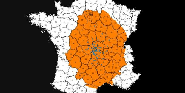 carte de la zone réglementée pour la FCO au 13 novembre