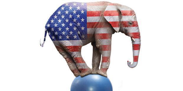 Un éléphant sur un ballon avec le drapeau américain
