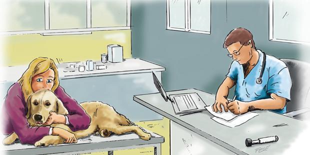 Vétérinaire qui rédige une ordonnance et propriétaire avec son chien en dessin