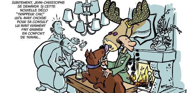 Nouvelle décoration de style trappeur chic dans une clinique vétérinaire, en dessin
