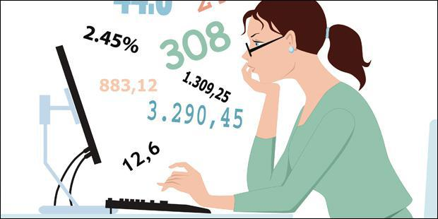 femme, ordinateur, calculs