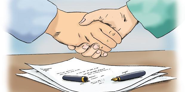 Deux personnes se serrent la main pour la signature d'un contrat (en dessin).