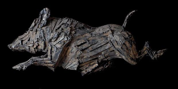 Sanglier, bronze de Bertrand Fauconnet