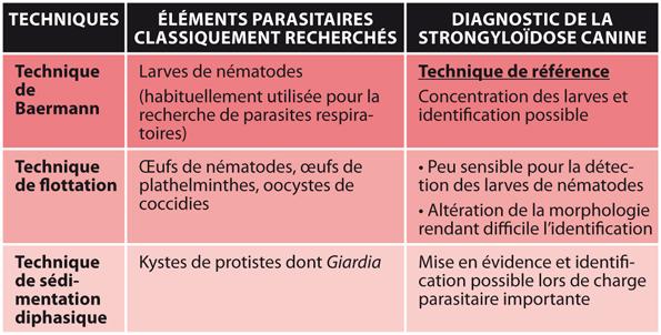 TABLEAU 2Techniques coproscopiques, éléments parasitaires recherchés et diagnostic de la strongyloïdose canine