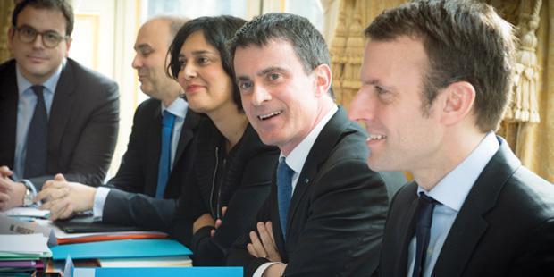 Les ministre Valls, Macron, El Khomri