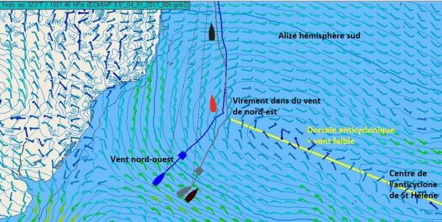 Vendée Globe Challenge  Jean Pierre Dick à l'approche de l'anticyclone de Sainte Hélène