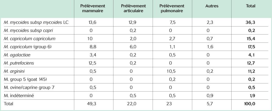 Mycoplasmes isolés à l'AFSSA Niort de 1987 à 1997 (fréquence en %)