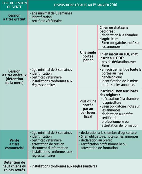 PRINCIPALES DISPOSITIONS DE LA RÉGLEMENTATION SUR L'ÉLEVAGE ET LA VENTE DES ANIMAUX DE COMPAGNIE