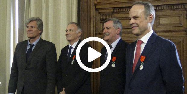 <p>De gauche à droite: Stéphane Le Foll, Loïc Gouello, Jean-Roch Gaillet et Jean-Luc Angot.</p>
