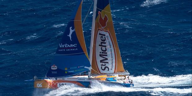 Vendée Globe Challenge 2016 2017, dans les vents de l'Océan Pacifique avec StMichel-Virbac, manœuvré par Jean Pierre Dick.
