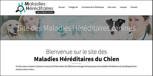 page d'accueil du site maladieshereditairesduchien.com