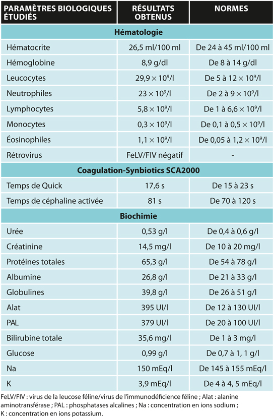 TABLEAU 1Résultats biologiques du cas n°1